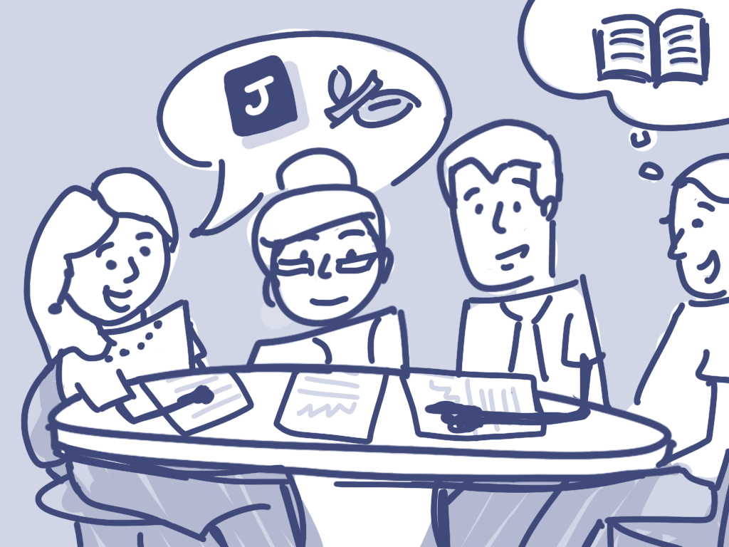 Illustration of four librarians discussing JSTOR resources