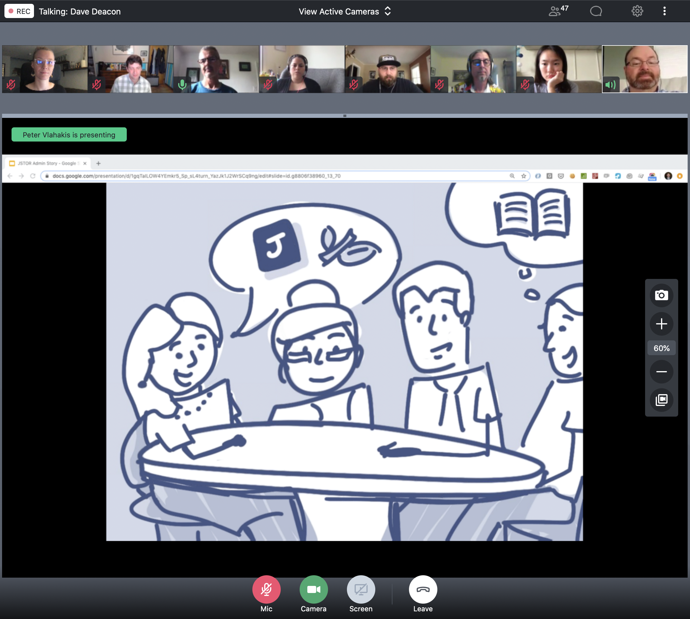 A team of nine people presenting a story on a webinar screen