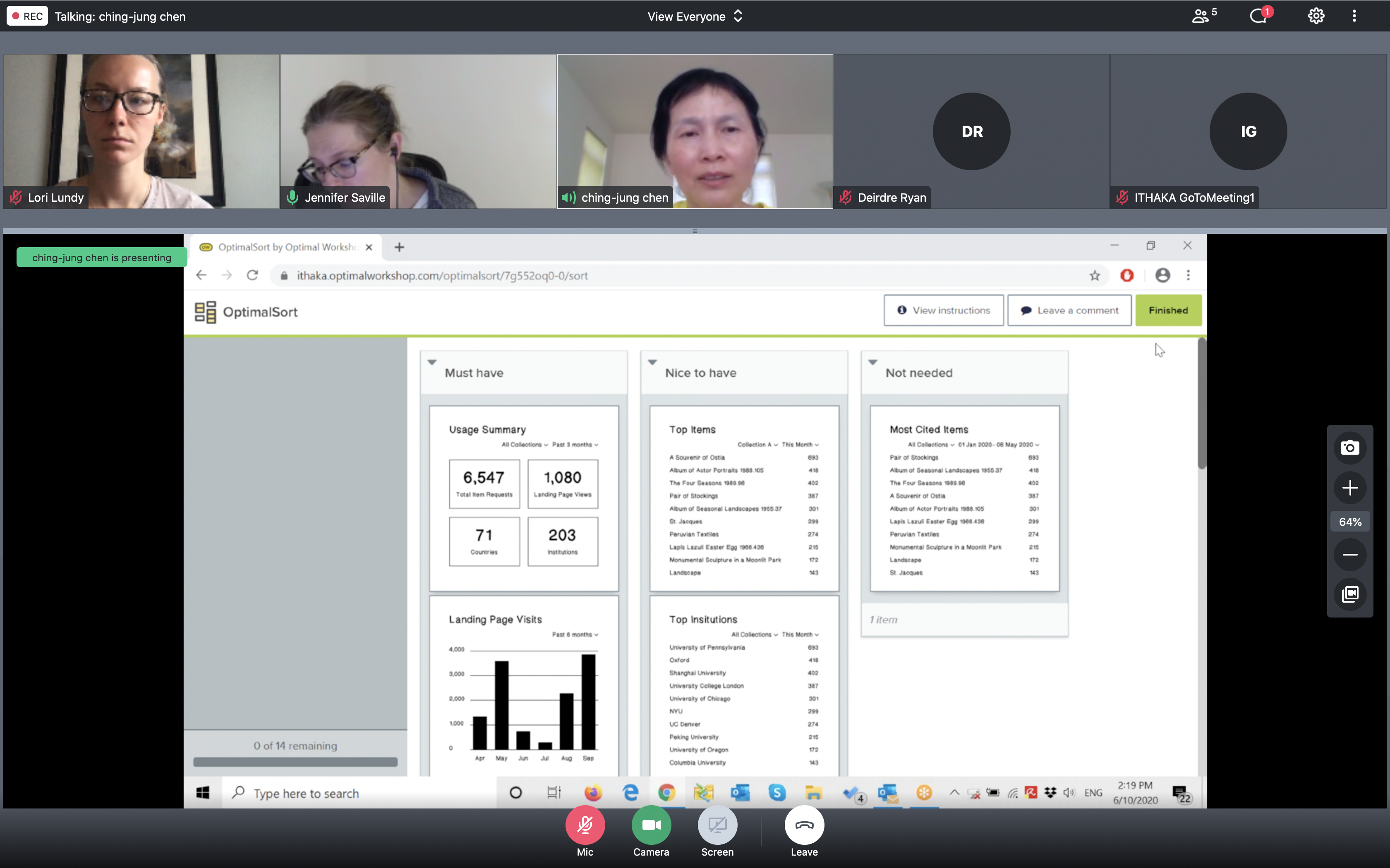 card sort during remote user interview