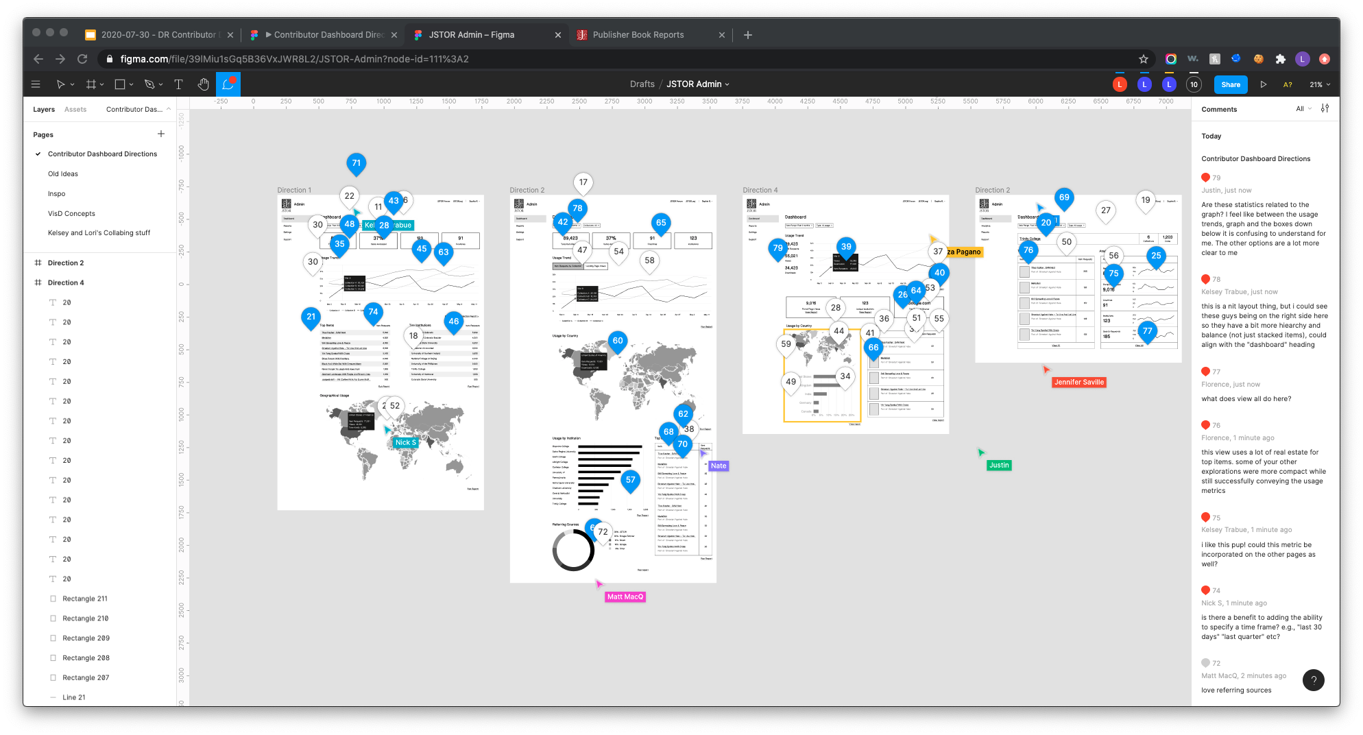 Figma comments on dashboard wireframes
